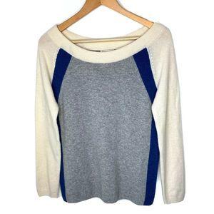 WHITE + WARREN 100% Cashmere Colorblock Sweater